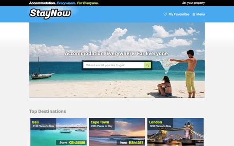 Screenshot of Home Page staynow.co.ke - StayNow, hotels, self catering, 143829 places to stay in 153 countries! - captured Aug. 10, 2015