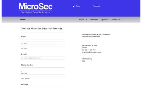 Screenshot of Contact Page microsec.co.za - Contact MicroSec Security System Installations | Johannesburg - captured Aug. 11, 2016