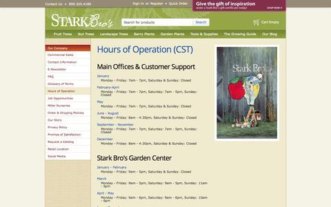 Screenshot of Hours Page starkbros.com - Hours of Operation - Stark Bro's - captured Nov. 3, 2014