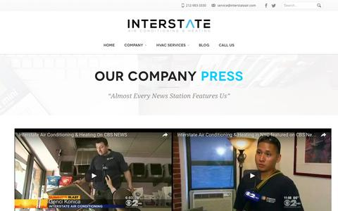 Screenshot of Press Page interstateair.com - Interstate Air Featured On All Major News Stations - captured Nov. 26, 2016