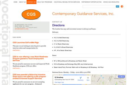 Screenshot of Maps & Directions Page cgsnyc.org - Directions :: Contemporary Guidance Services - captured Jan. 31, 2016