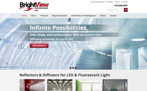 Screenshot of Home Page brightviewtechnologies.com - Bright View Technologies | Reflectors & Diffusers for LED & Fluorescent Light – Bright View Technologies. - captured Sept. 12, 2014