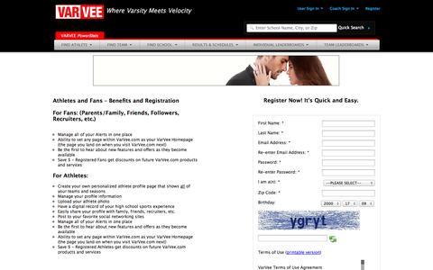 Screenshot of Signup Page varvee.com - High School Sports Stats : VarVee : Users - captured Sept. 17, 2014
