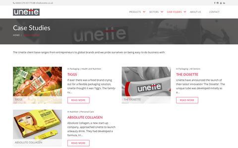 Screenshot of Case Studies Page unette.co.uk - Unette, case studies - captured Nov. 3, 2017