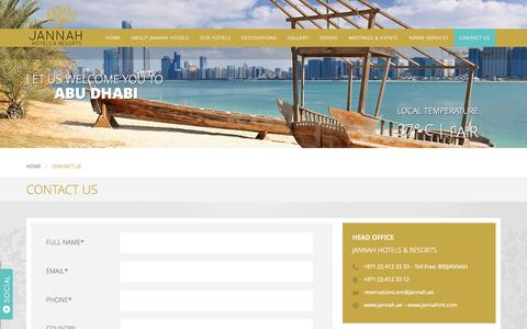 Screenshot of Contact Page jannah.ae - Contact us - captured Sept. 19, 2014