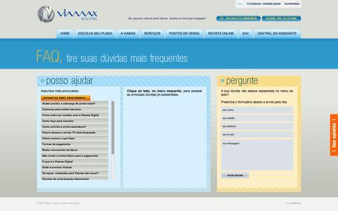 Screenshot of FAQ Page viamax.com.br - FAQ - Viamax - A TV por assinatura dos catarinenses - captured Oct. 26, 2014
