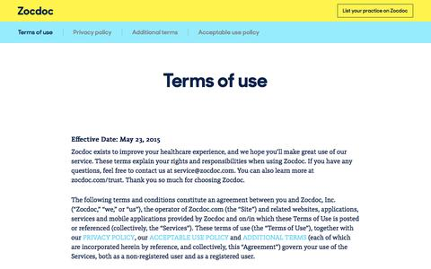 Terms of use | ZocDoc
