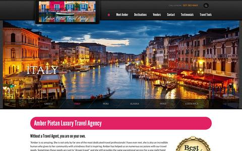Screenshot of Home Page amberstravel.com - Amber Pietan Travel Agency - captured Jan. 23, 2015