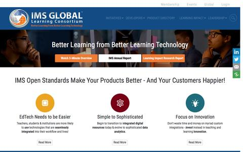 Screenshot of Developers Page imsglobal.org - Developers | IMS Global Learning Consortium - captured Sept. 28, 2016