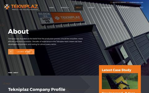 Screenshot of About Page tekniplaz.com - Toolmaking, Product Development & Precision Engineering Partner - captured Nov. 6, 2017