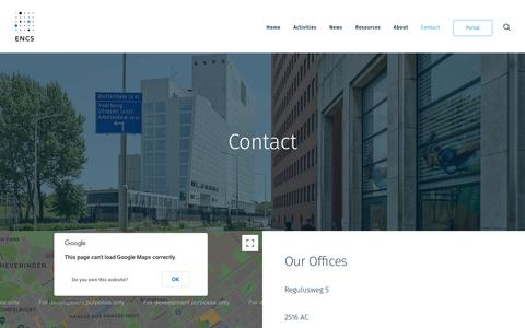 Screenshot of Contact Page encs.eu - Contact Us   ENCS - captured Sept. 26, 2018