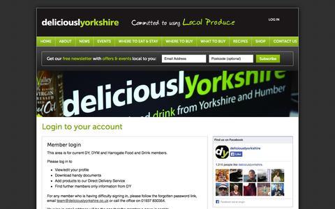 Screenshot of Login Page deliciouslyorkshire.co.uk - Accounts - deliciouslyorkshire - captured Oct. 5, 2014