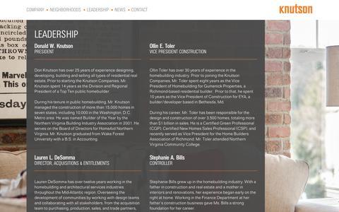 Screenshot of Team Page knutsoncos.com - Meet our Leadership - The Knutson Companies | The Knutson Companies | Homes. Neighborhoods. Lifestyles. - captured Nov. 26, 2018