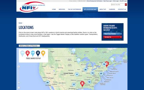 Screenshot of Locations Page nfiindustries.com - Distribution Locations | Supply Chain Management | NFI - captured Oct. 9, 2014
