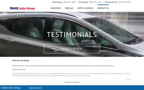 Screenshot of Testimonials Page dueckgm.com - Testimonials - Dueck Auto Group - captured June 5, 2017