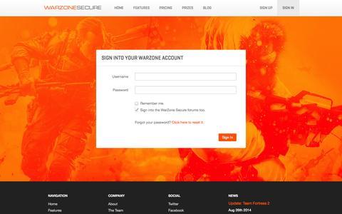 Screenshot of Login Page warzonesecure.com - WarZone Secure - captured Sept. 12, 2014