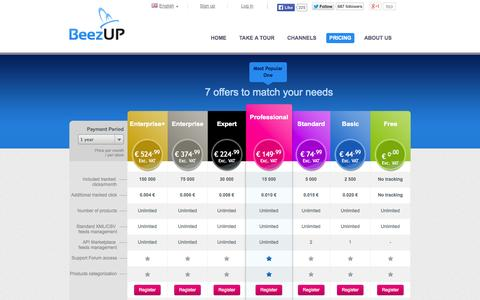 Screenshot of Pricing Page beezup.com - BeezUP Pricing -  Publishing feeds Comparison shopping engines and marketplaces - Product feed, Optimization, Management - captured Sept. 19, 2014