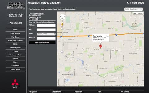 Screenshot of Maps & Directions Page livoniamitsubishi.com - Metro Detroit Mitsubishi Dealer | Map, Address, Location, Directions | Livonia Mitsubishi - captured Sept. 30, 2014