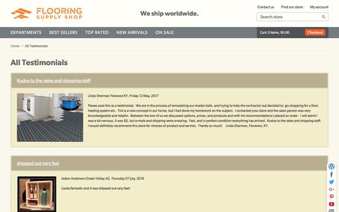 Screenshot of Testimonials Page flooringsupplyshop.com - All Testimonials : Flooring Supply Shop, Flooring and Floors Heating Supply Discount Warehouse - captured Sept. 24, 2018