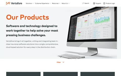 Screenshot of Products Page vertafore.com - Products | Vertafore - captured Nov. 5, 2017
