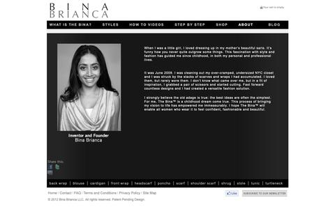 Screenshot of About Page binabrianca.com - NYC SCARVES AND WRAPS FOR WOMEN – CIRCLE SCARF SALE – THE BINA - captured Oct. 5, 2018