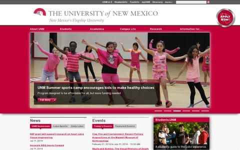 Screenshot of Home Page unm.edu - UNM - New Mexico's Flagship University   | The University of New Mexico - captured July 11, 2014