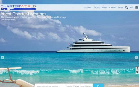 Screenshot of Locations Page charterworld.com - Luxury yacht charter locations for superyachts, sailing & motor boat yacht rental vacations - worldwide. | The Complete 2018 & 2019 Guide by CHARTERWORLD - captured Sept. 22, 2018