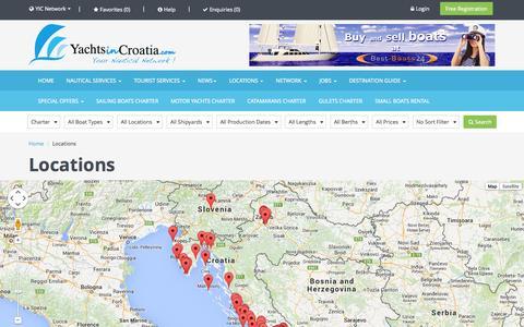 Screenshot of Locations Page yachtsincroatia.com - Yachts in Croatia | The biggest nautical portal in Croatia | Yachts charter and sale | Sail boats charter and sale - captured Sept. 30, 2014