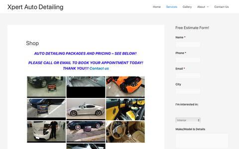 Screenshot of Services Page xpertautodetailing.ca - Shop our car detailing services | We come to you | Mobile Car Detailing | Toronto | Mississauga | Oakville | GTA | Xpert Auto Detailing - captured Nov. 7, 2019