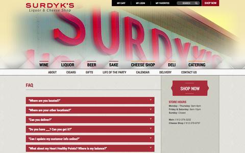 Screenshot of FAQ Page surdyks.com - Surdyk's Liquor & Cheese Shop | FAQs - captured Oct. 7, 2014