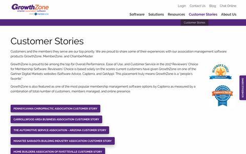 Screenshot of Case Studies Page growthzone.com - Association Management Software Success Stories | GrowthZone - captured Sept. 11, 2017
