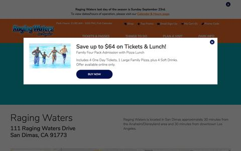 Screenshot of Maps & Directions Page ragingwaters.com - Directions   Raging Waters Los Angeles - captured Sept. 23, 2018