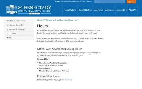 Screenshot of Hours Page sunysccc.edu - Schenectady County Community College > About Us > Campus Visit and Extension Sites >  Hours - captured Nov. 19, 2016