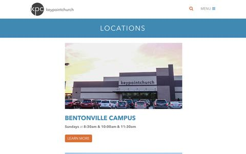 Screenshot of Locations Page keypointchurch.com - Locations · Keypoint Church - captured June 9, 2017