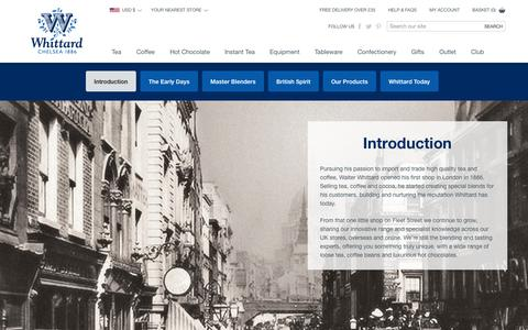 Screenshot of About Page whittard.co.uk - About Whittard - How it all began! | Whittard of Chelsea - captured Sept. 23, 2014
