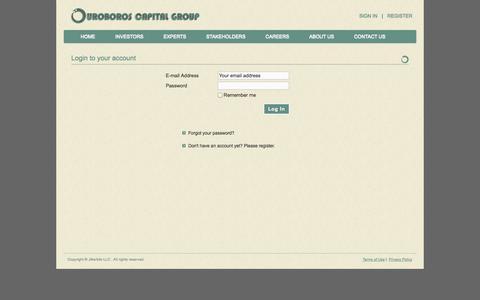 Screenshot of Login Page ouroboros-capital.com - Ouroboros Capital - captured Oct. 26, 2014