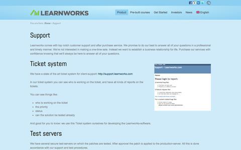Screenshot of Support Page learnworks.com - Learnworks - Support - captured Oct. 2, 2014