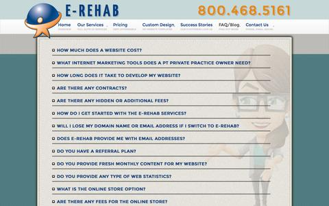 Screenshot of FAQ Page e-rehab.com - Answers about E-rehab and our website, mobile and newsletter services - captured Sept. 22, 2014