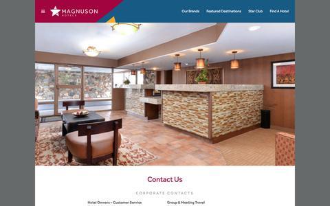 Screenshot of Contact Page magnusonhotels.com - Contact Us ⋆ Magnuson Hotels - captured July 2, 2017