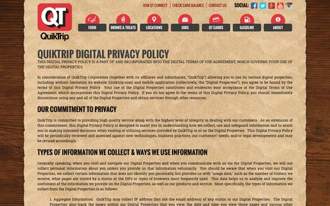 Screenshot of Privacy Page quiktrip.com - Privacy - captured Dec. 5, 2016