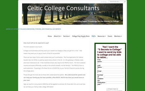 Screenshot of FAQ Page celticcollegeconsultants.com - FAQ's   Celtic College Consultants - captured Sept. 29, 2014