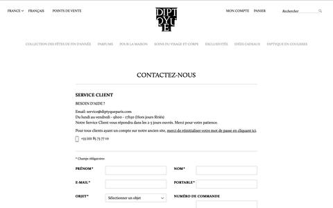 Screenshot of Contact Page diptyqueparis.com - Contactez-nous | Diptyque Paris - captured Nov. 17, 2018
