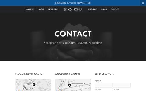 Screenshot of Contact Page kcf.org - Contact — Koinonia Christian Fellowship - captured Feb. 12, 2016
