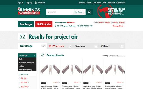 Screenshot of Products Page bunnings.com.au - Search - Our range | Bunnings Warehouse - captured Sept. 18, 2014