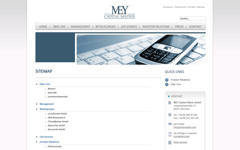Screenshot of Site Map Page meycapital.com - Sitemap - MEY Capital Matrix - captured Oct. 27, 2014