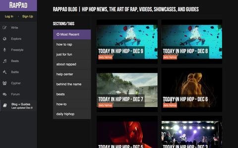 Screenshot of Blog rappad.co - We Make Better Rappers | News, Showcases, and Guides - RapPad - captured Dec. 10, 2015