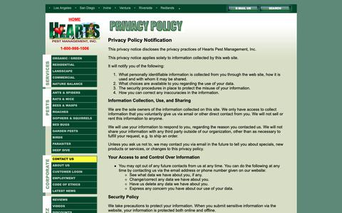 Screenshot of Privacy Page heartspm.com - Hearts Pest Management Privacy Policy - captured Sept. 28, 2018