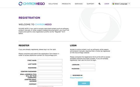 Screenshot of Login Page chyronhego.com - ChyronHego - captured Sept. 25, 2014