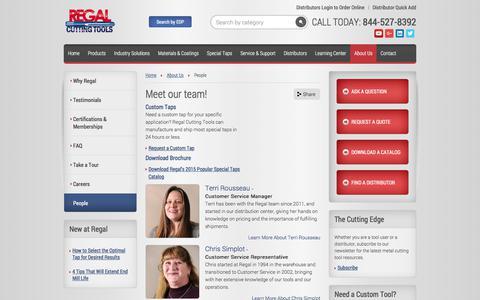 Screenshot of Team Page regalcuttingtools.com - Meet our team! | Regal Cutting Tools - captured Sept. 20, 2018