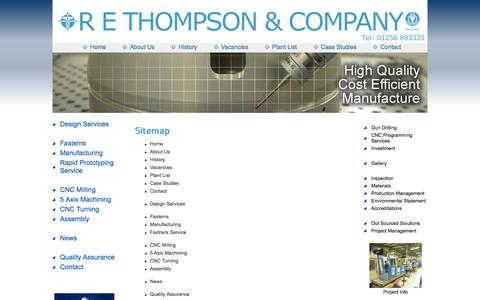 Screenshot of Site Map Page rethompson.co.uk - R E Thompson - Sitemap - Precision Engineers Hampshire - captured Oct. 27, 2014